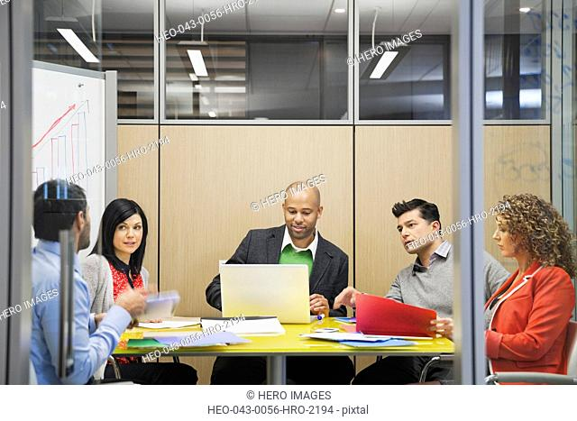 Business people having a discussion in board room