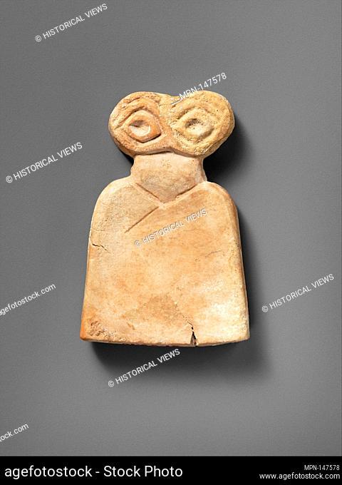 Eye idol. Period: Middle Uruk; Date: ca. 3700-3500 B.C; Geography: Syria, Tell Brak; Medium: Gypsum alabaster; Dimensions: 2 1/8 x 3 1/2 x 3/4 in. (5