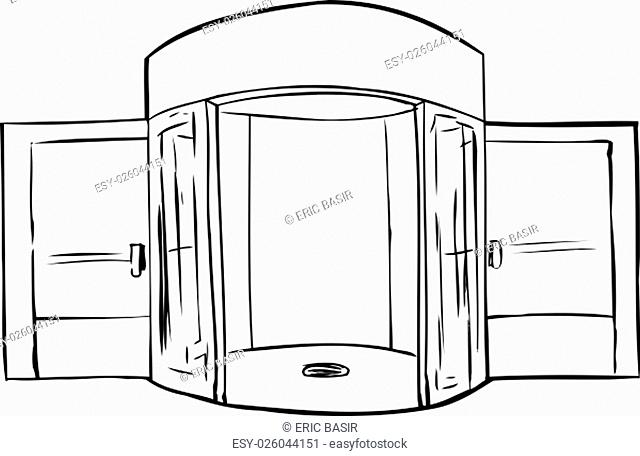 Outline of entrance with missing revolving door