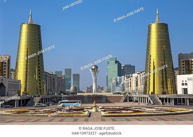 Astana, Avenue, Bayterek, Boulevard, City, Flowers, Plants, Kazakhstan, Central Asia, Monument, New City, Nurzhol, architecture, flower carpet, colourful