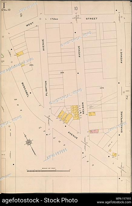 Bronx, V. 15, Plate No. 1 [Map bounded by W. 172nd St., Shakespeare Ave., Boscobel Ave.]. Sanborn Map Company (Publisher)