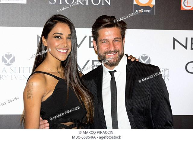 The showgirl Juliana Moreira and TV presenter Edoardo Stoppa attending the charity gala Never Give Up at The Westin Palace of Milan. Milan, Italy