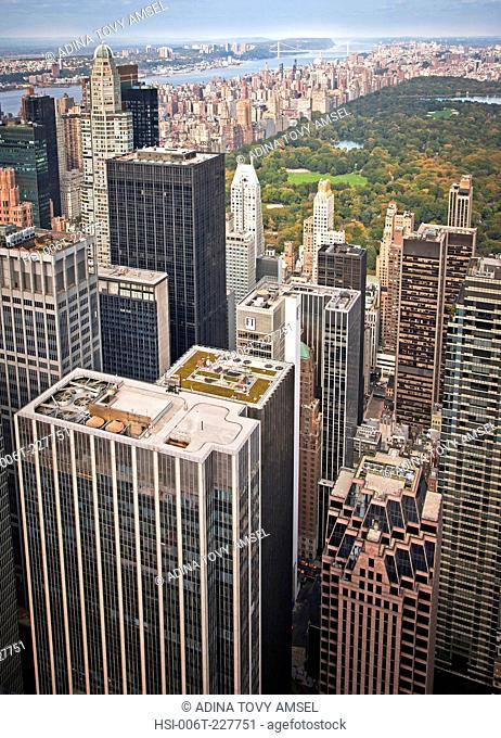 United States of America. New York. Manhattan. View from observation platform on top of Rockefeller Center. Skyscrapers. Central Park