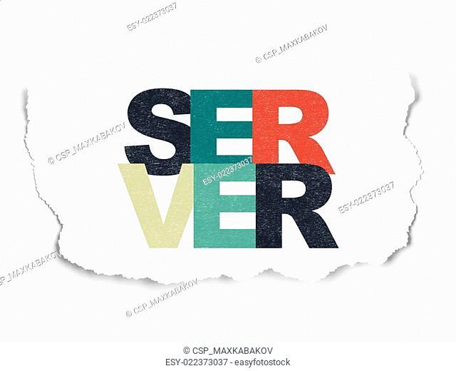 Web design concept: Server on Torn Paper background