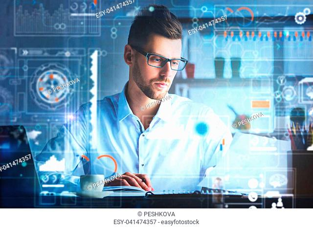 Handsome businessman working on project at modern workplace with abstract forex chart. Toned image. Finance and innovation concept. Double exposure