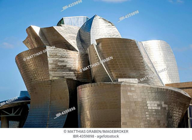 Guggenheim Museum Bilbao, architect Frank O. Gehry, detail, Bilbao, Basque Country, Spain