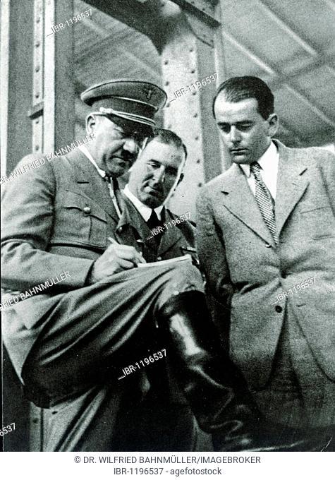 Adolf Hitler, Willy Liebel, Mayor of Nuremberg and architect Prof. Albert Speer at the Reichsparteitagsgelaende Nazi party rally grounds, Nuremberg, Bavaria