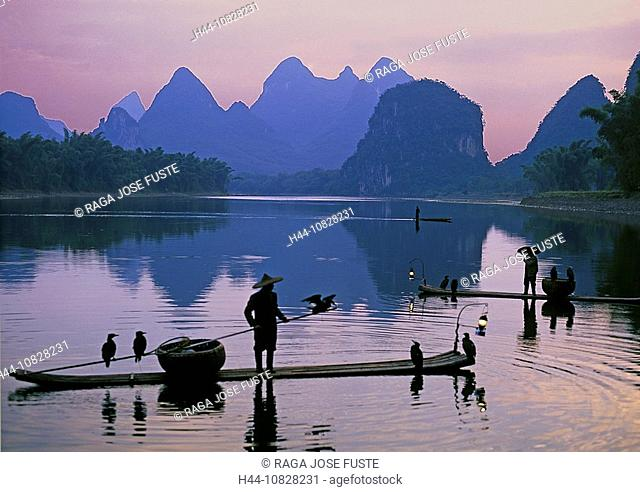 China, Asia, Guangxi, autonomous area, field, Guilin, Li Jiang, Li river, scenery, landscape, mountains, karstland, ka