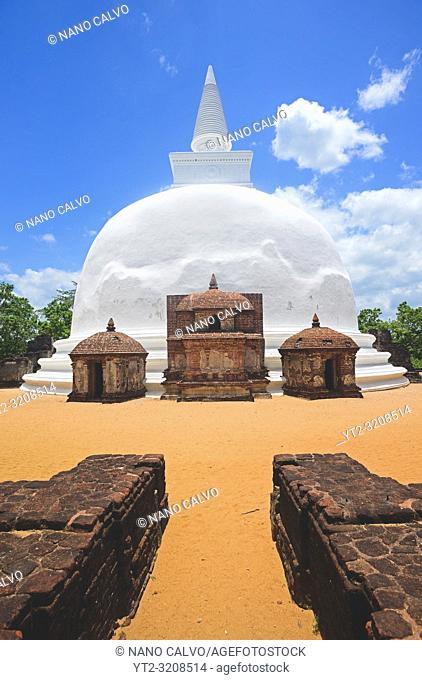 Dagaba Kiri Vihara, built in honour of the king`s queen, in The Ancient City Polonnaruwa, Sri Lanka