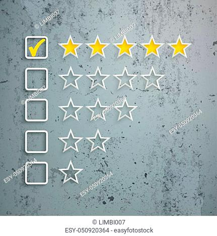 Rating stars with frames on the concrete background