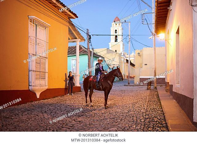 Horseman in the evening, Trinidad old town, Cuba