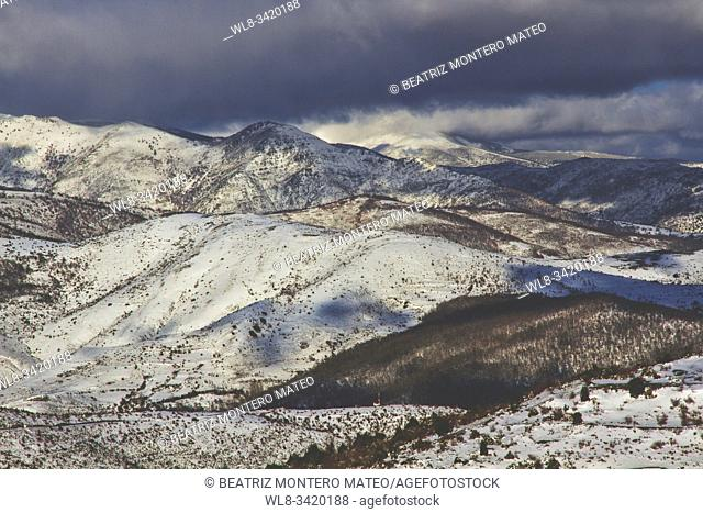 Snowy mountains in Sierra de la Demanda, Burgos (Spain)