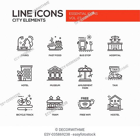 Set of modern vector plain line design icons and pictograms of city buildings and elements. Hotel, bus stop, museum, taxi, bicycle track, wifi zone, hostel