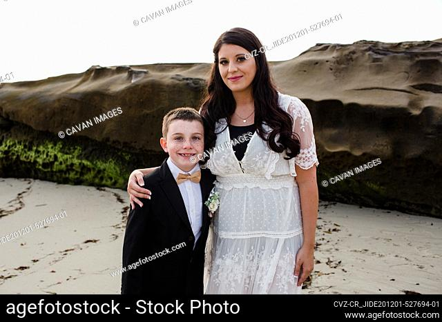 Newlywed Mother with Son on Windansea Beach in San Diego