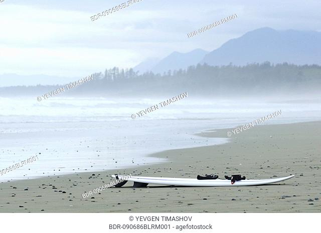 surfboard on beach at tofino area on vancouver island