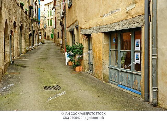 narrow medieval street, Saint-Antonin-Noble-Val, Tarn-et-Garonne Department, Midi-Pyrenees, France