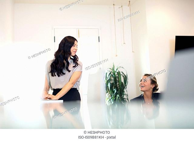 Two businesswomen having discussion while working at office desk