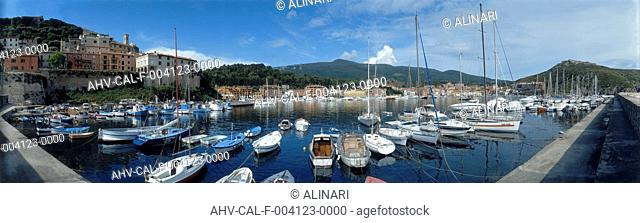 The port and boats at the Porto Ercole, in Argentario, shot 1997 by Alinari