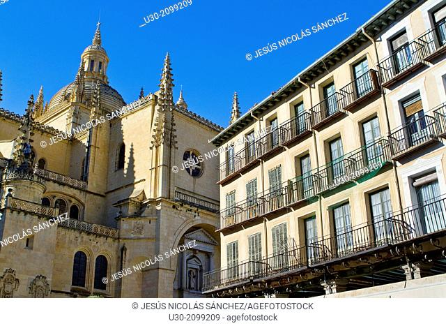 Cathedral and Main Square, in Segovia, city declarated Historical-Artistic Site, and World Heritage by UNESCO