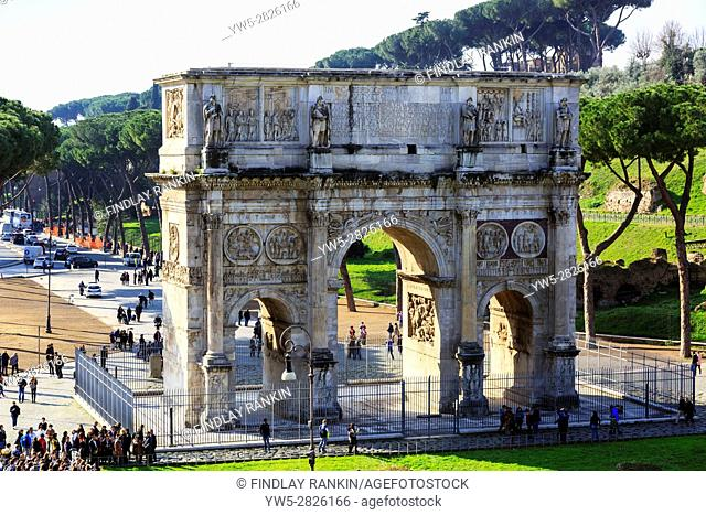 Arco de Constantino, the Triumphal arch built by the Senators in AD315, situated on the Via Triumphalis, between Palatine Hill and the Colosseum is Romes...