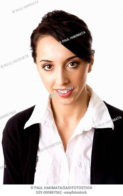 Beautiful Caucasian Hispanic happy smiling cute corporate business woman  Face and shoulders of an entrepreneur female, isolated