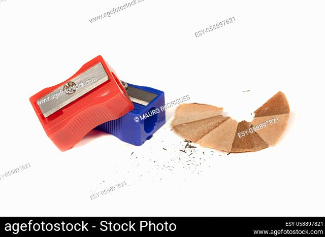 Close view detail of pencil sharpeners isolated on a white background