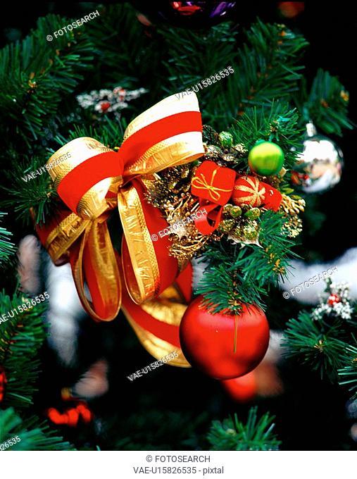 seasons, christmas, decoration, ribbon, tree, film