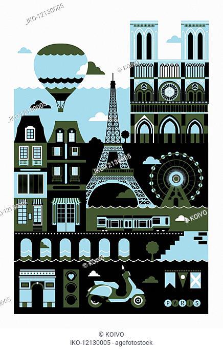 Tourism montage of famous landmarks in Paris