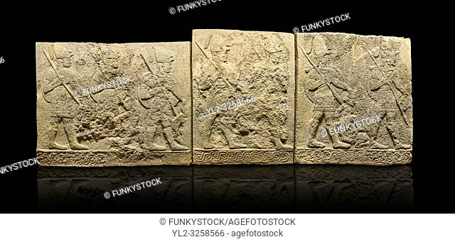 Hittite sculpted orthostats panels of Long Wall Limestone, Karkamis, (Kargamis), Carchemish (Karkemish), 900-700 B.C. Soldiers