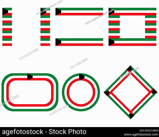 Fahnen von Kuwait mit Textfreiraum - Flags of Kuwait with copy space