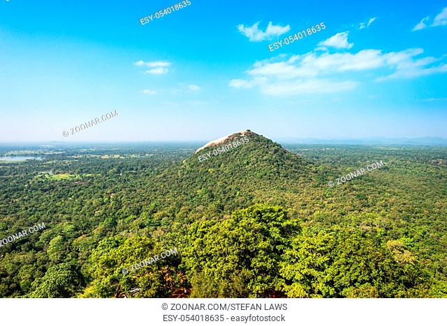Landscape withe the Pidurangala rock in the Central Province of Sri Lanka