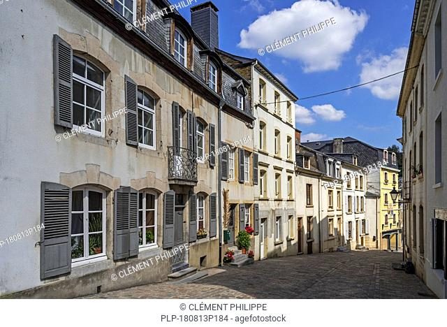 18th century Maison Lavachery, terraced house along cobbled street in the city Bouillon, Luxembourg Province, Belgian Ardennes, Belgium