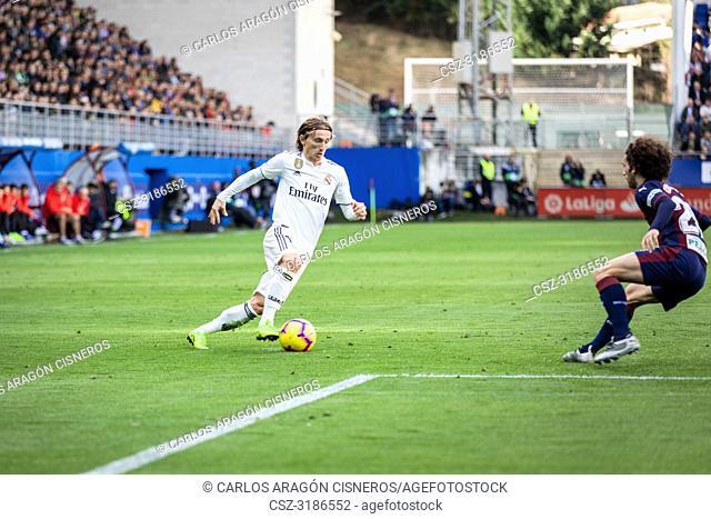 Luka Modric, Real Madrid player, during the La Liga match between Eibar and Real Madrid CF at Ipurua Stadium on November 24, 2018 in Eibar, Spain