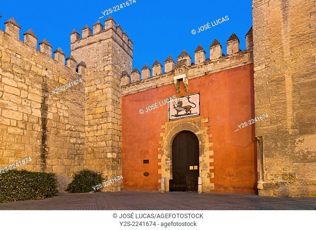Royal Alcazar, Lion's gate, Seville, Region of Andalusia; Spain