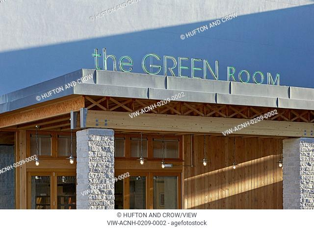 Roof and cladding detail with signage. The Green Room, London, United Kingdom. Architect: Benjamin Marks, 2015
