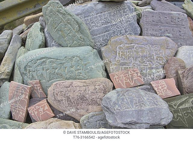 Carved mani stones in Lamayuru, Ladakh, India