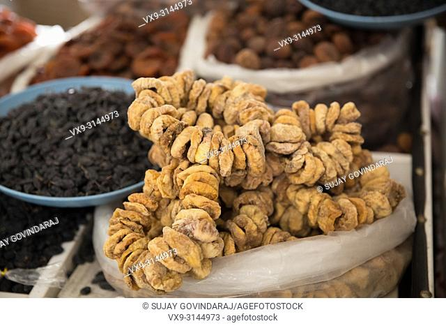 Various dry fruits like dates, figs, pista, dried grapes, almonds and more
