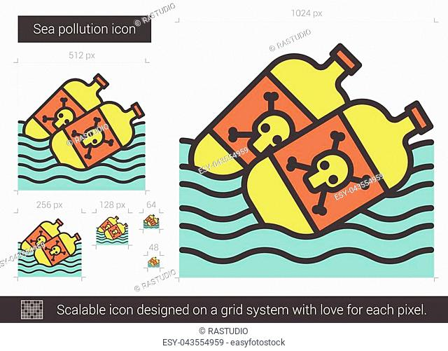 Sea pollution vector line icon isolated on white background. Sea pollution line icon for infographic, website or app. Scalable icon designed on a grid system