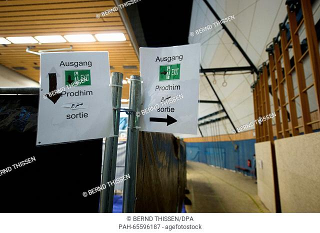 Interior view of the reception facility for refugees in a gymnasium inAttendorn, Germany, 04 February 2016. Several alleged Islamists who are suspected of...