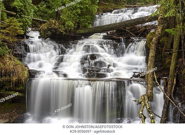 Wagner Falls in late autumn, Wagner Falls Scenic area, Munising, Michigan, USA