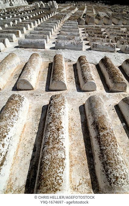 Rows of Tombs in the Jewish Cemetery Mellah Fez