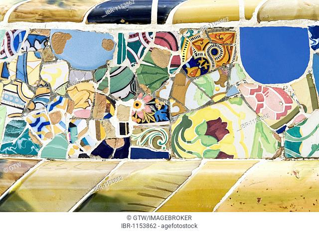 Painted tiles, Park Gueell, architect Antonio Gaudi, Unesco World Heritage Site, Gracia District, Barcelona, Catalonia, Spain, Europe