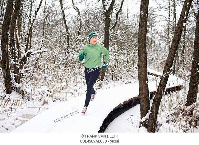 Female running on elevated forest walkway in winter