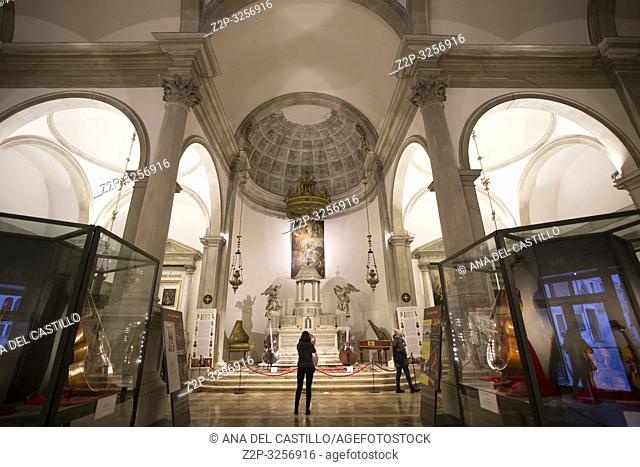Venice, Veneto, Italy : Maurice church interior with instruments
