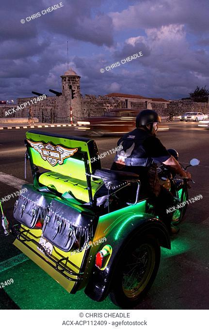 Unusual new motorcycle at the Malecon, Havana, Cuba
