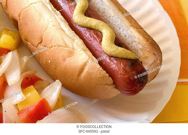 Hot dog with mustard and vegetables