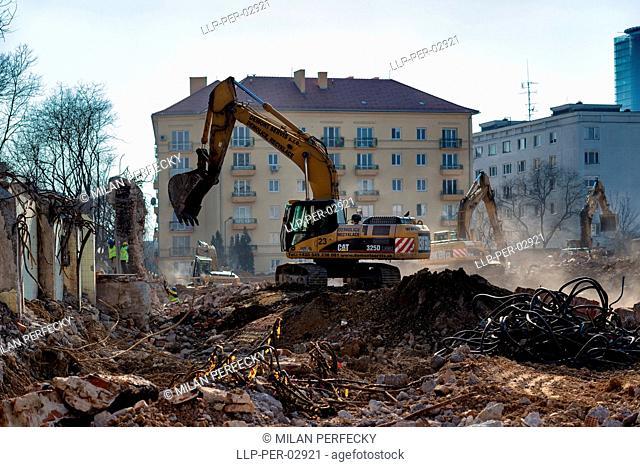 Demolition of brewery Stein in Bratislava - Slovakia