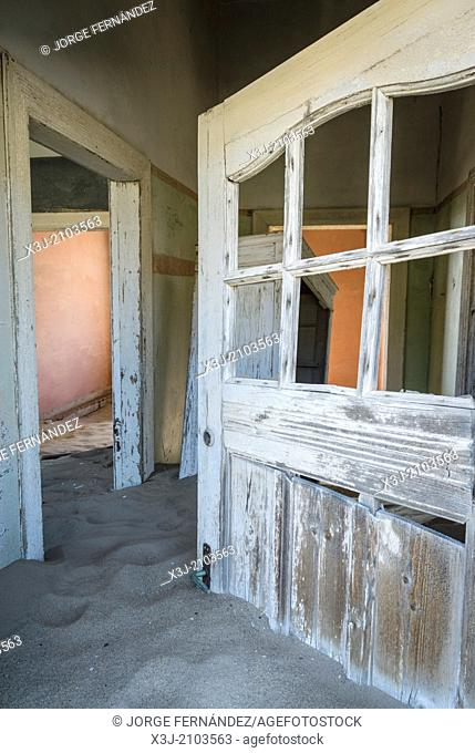 Abandoned house of the old mining town of Kolmanskoppe, Namibia, Africa