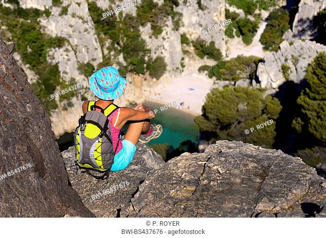 hiker resting at the Calanque of En Vau in the national park of Calanques, France, Calanques National Park