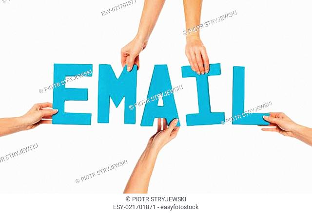 Female hands holding letters EMAIL